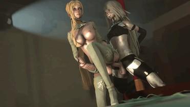 bulge orgy hentai gif – commander futanari futanari_on_futanari gif nier:_automata yorha_commander